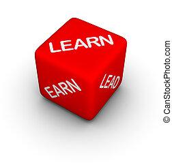 sep132jpg - learn, earn, lead - 3d dice