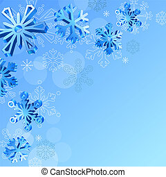 Christmas elegant blue background with 3d snowflakes