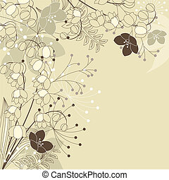 Light beige background with lilies of the valley