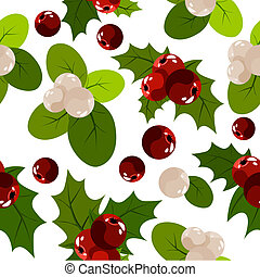 Seamless christmas pattern with holly berry and snowberry