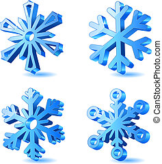 vettore, Natale, 3D, fiocco di neve, Icone