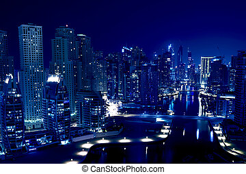 Night city. Panoramic view. Dubai