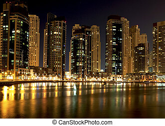 Night city. Panoramic view. Dubai - Night city. Panoramic...