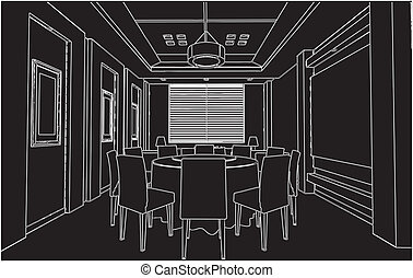 Modern Dining Room Vector
