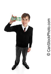 School boy with cash money - Teen school boy holding a wad...