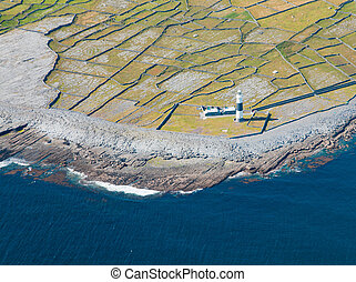 Lighthouse on Inisheer - Aerial landscape of the lighthouse...