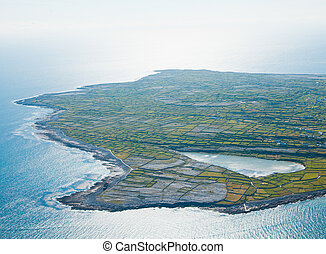 Lake on Inisheer island - Aerial landscape of Inisheer...