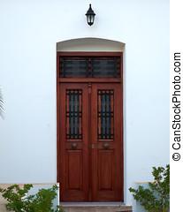 brown door entrance, Greece - brown door entrance, Milos...