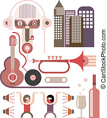 Dancing Party - vector illustration - Disco party, Dancing...