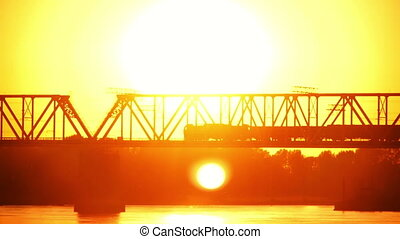 railway bridge at sunset