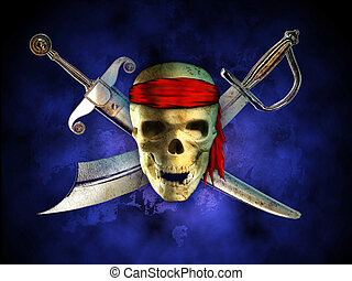 Pirate skull - Menacing pirate skull with two crossed swords...