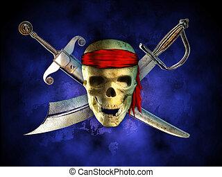Pirate skull - Menacing pirate skull with two crossed swords...