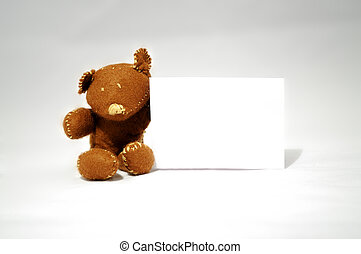 Teddy Bear Note - brown teddy holding white card in white...