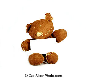 Cute Note - brown teddy holding white card in white...