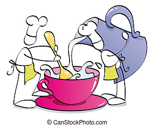 funny chefs preparing coffee - two chefs are mixing a cup of...
