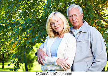 Senior couple - Happy senior couple relaxing in park Golden...