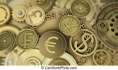 Monetary currencies Concept and idea