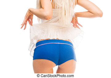 Woman's back and buttocks. Isolated image