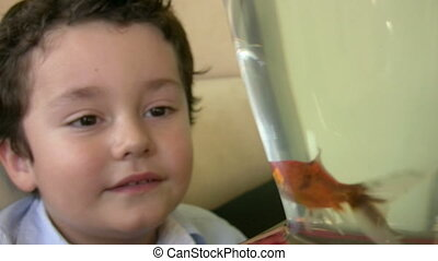 Little boy likes fish