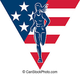 American Marathon runner stars stripes - illustration of a...