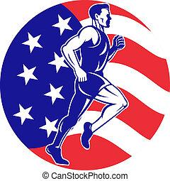 American Marathon runner stars stripes flag - illustration...