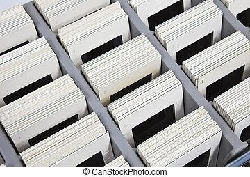 Vintage Slides in Storage Box - Vintage 35mm slides in...