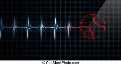 Red Heartbeat Monitor with baseball - Red Horizontal Pulse...