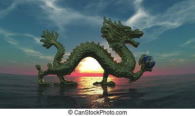 dragon and sea