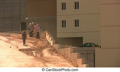 Workers working in construction zone