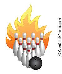 bowling ball knocks down pins - bowling ball knocks down...