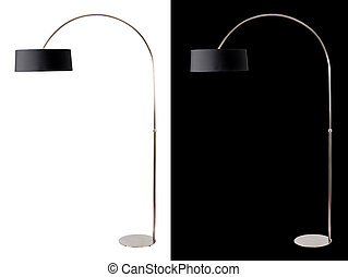 Contemporary metallic and black floor lamp on white and...