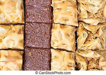 Baqlawa - Mediterranean baqlawa sweets as a background image