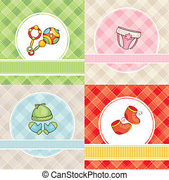 set of vector baby cards - abstract set of cute vector baby...
