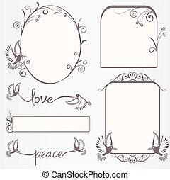 Ornate vintage frame set with doves with laurel leaves