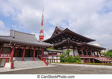 Tokyo, Japan - Tokyo Tower and Zojo-ji Temple in Tokyo,...