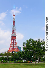Tokyo, Japan - Tokyo Tower and Shiba Park in Tokyo, Japan....