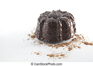 Chocolate cake on the white. Space for your text