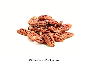 heap of pecan nuts on white background