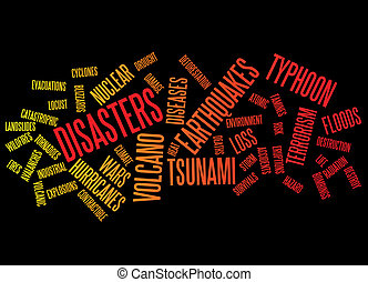 disasters background as words clouds