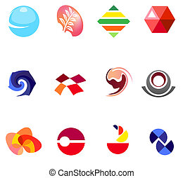 12 different colorful vector symbols: (set 22)
