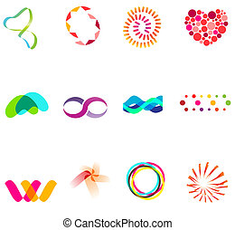 12 different colorful vector symbols: (set 25)