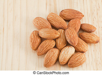 Pile of almonds nuts