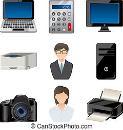 Office item icons set - illustration