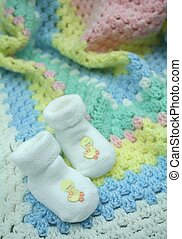 Crochet Baby Blanket and Booties - White booties with...