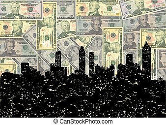 Grunge Atlanta skyline with dollars