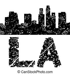 Grunge Los Angeles skyline with text illustration