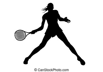 Woman tennis player Hand painted illustration