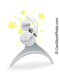 Metallic cartoon character pop star singer - Metallic...