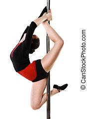 Young woman doing gymnastics against a white - Young pole...