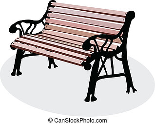 a vectorial image of wooden bench is in a park